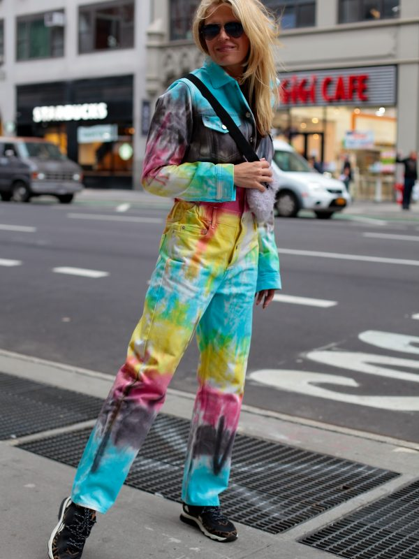 multicolor denim jumpsuit front